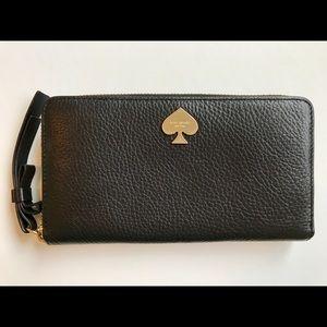 kate spade black leather zip wallet
